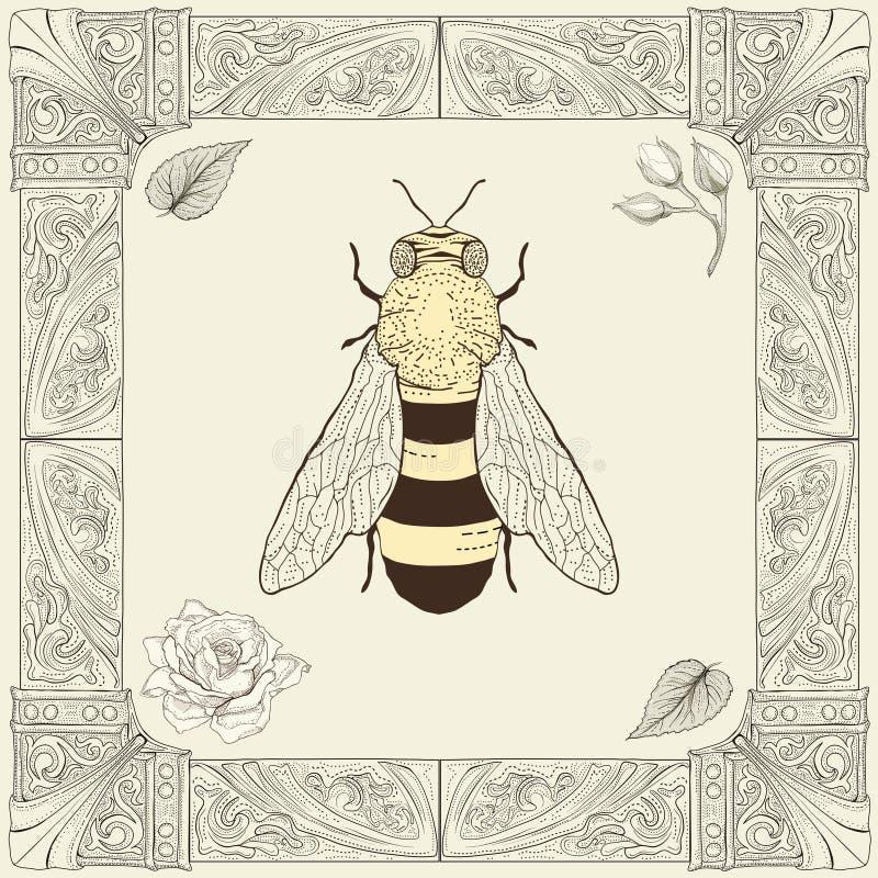 Bi och rosa teckning royaltyfri illustrationer