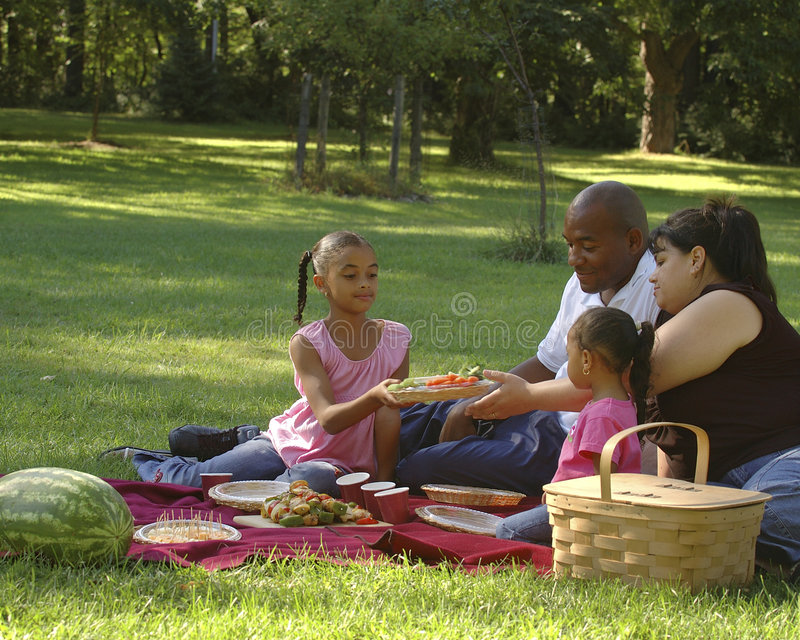 Bi-racial Family Picnic. African American dad, Hispanic mom and children on family picnic. Food being passed