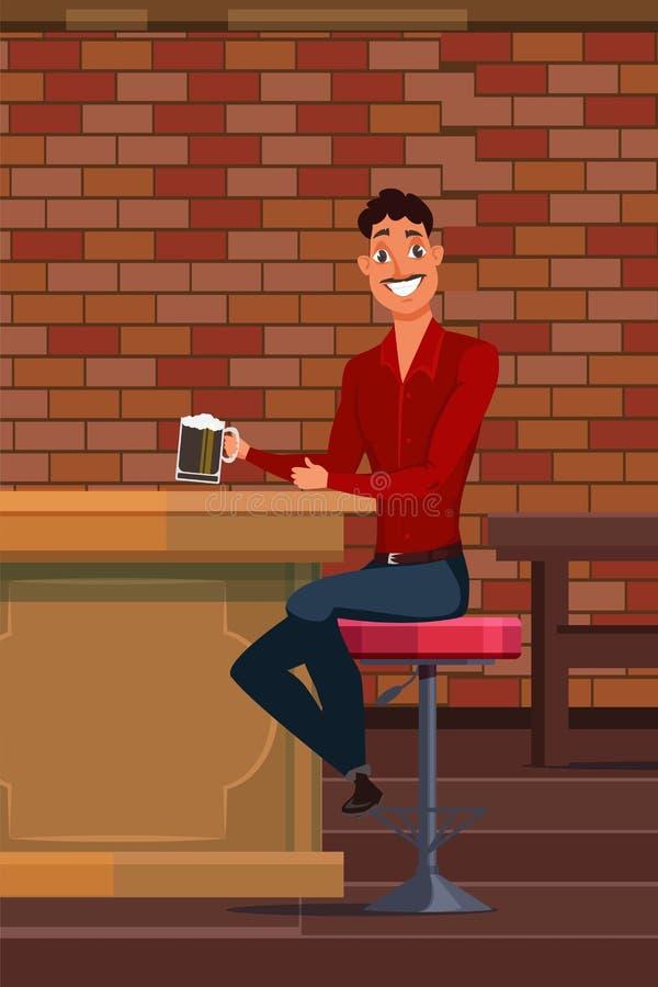 Bi?re potable de jeune homme dans l'illustration de vecteur de bar illustration stock