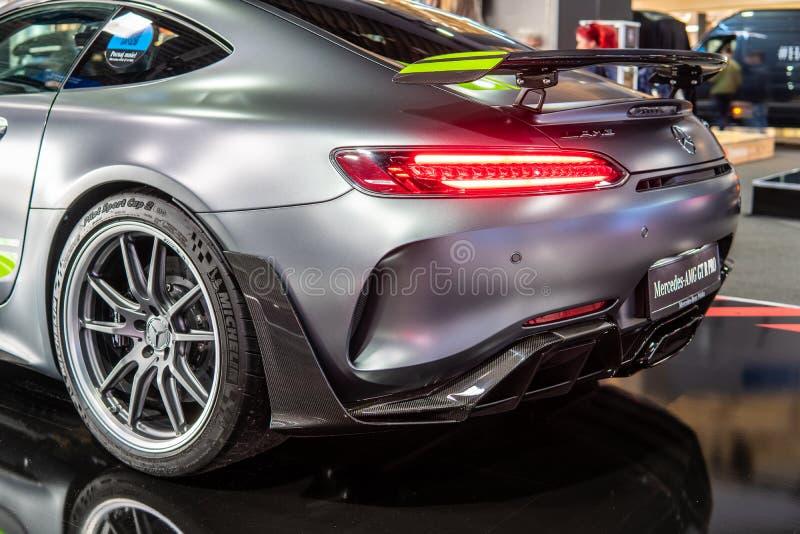 Bi-turbocompressor de V8 da barata de Mercedes-AMG GT R PRO com M178 o motor, carro desportivo de capacidade elevada produzido po imagem de stock