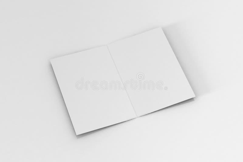 Bi-veck A5 broschyr/broschyrmodell på isolerad vit bakgrund royaltyfri illustrationer