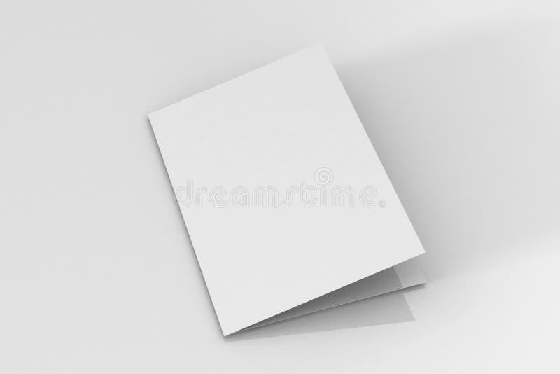 Bi-veck A5 broschyr/broschyrmodell på isolerad vit bakgrund arkivfoto