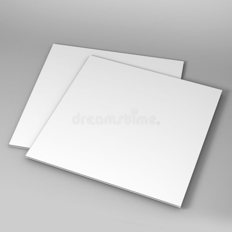 Bi-vouwen of halve die van de brochurevouwen spot omhoog op zachte grijze achtergrond wordt geïsoleerd 3d geef illustratie terug royalty-vrije illustratie