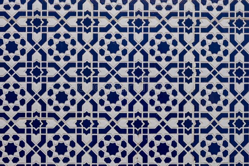 Biała błękitna tradycyjna mozaika, Maroko zdjęcia stock