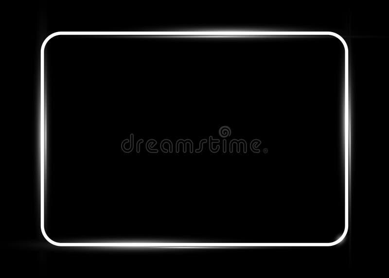 Biała błyszcząca rozjarzona rocznik rama z cieniami odizolowywającymi lub czarnym tłem Biała neonowej tubki prostokąta realistycz ilustracji