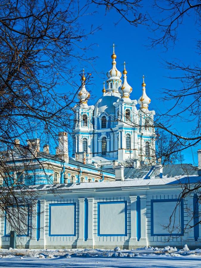Biała barok koronka na błękitnych fasadach Rastrelli zdjęcie royalty free