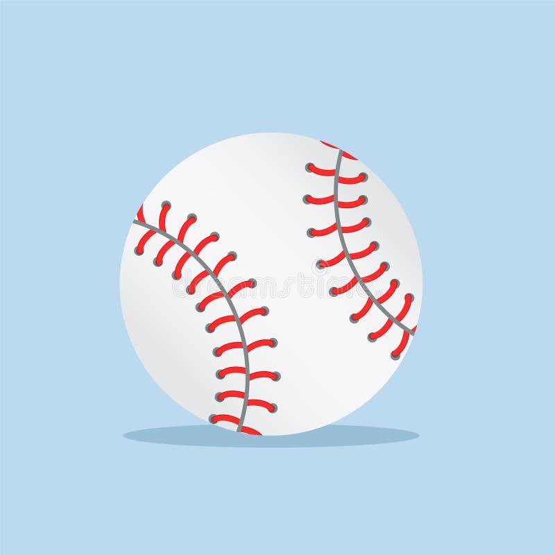 Biała baseball piłka na błękitnym tle z cieniem, akcyjna wektorowa ilustracja royalty ilustracja