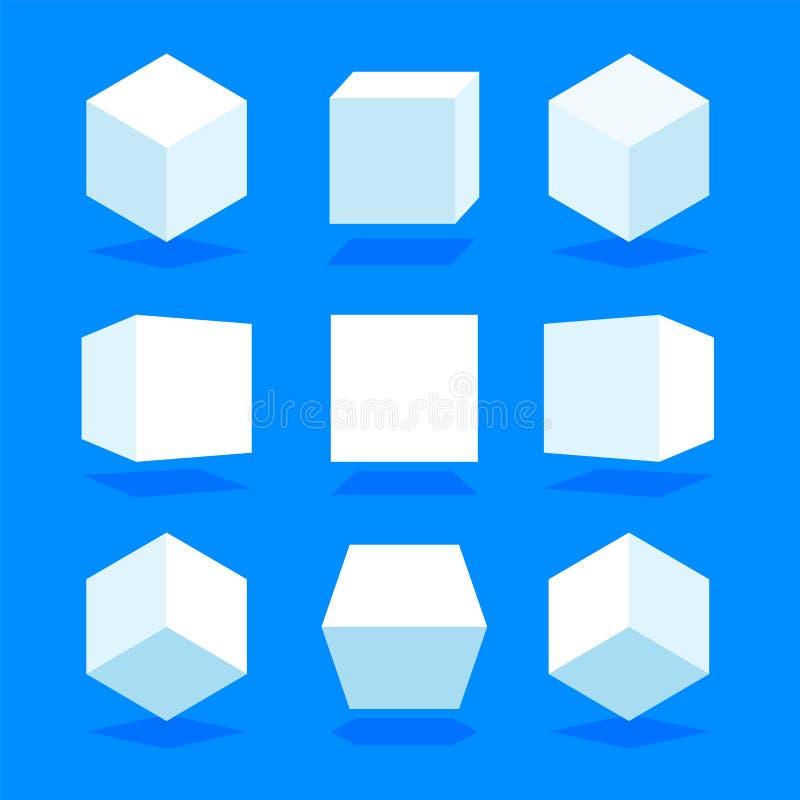 Biała 3D sześcianów paczka odizolowywająca na błękitnym tle Różny światło, perspektywa i kąt, również zwrócić corel ilustracji we ilustracja wektor