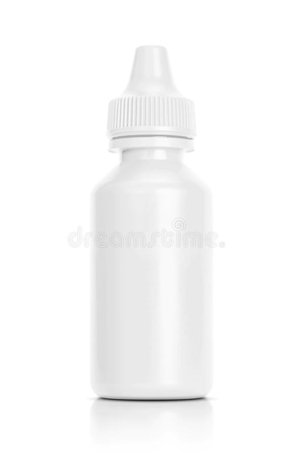 Biała eyedropper butelka odizolowywająca na białym tle obrazy royalty free