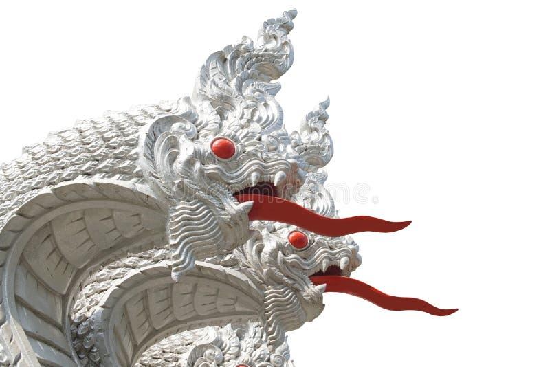Biała wąż statua w łonowej świątyni Thailand Odizolowywający na białym tle z ścinek ścieżką zdjęcia royalty free