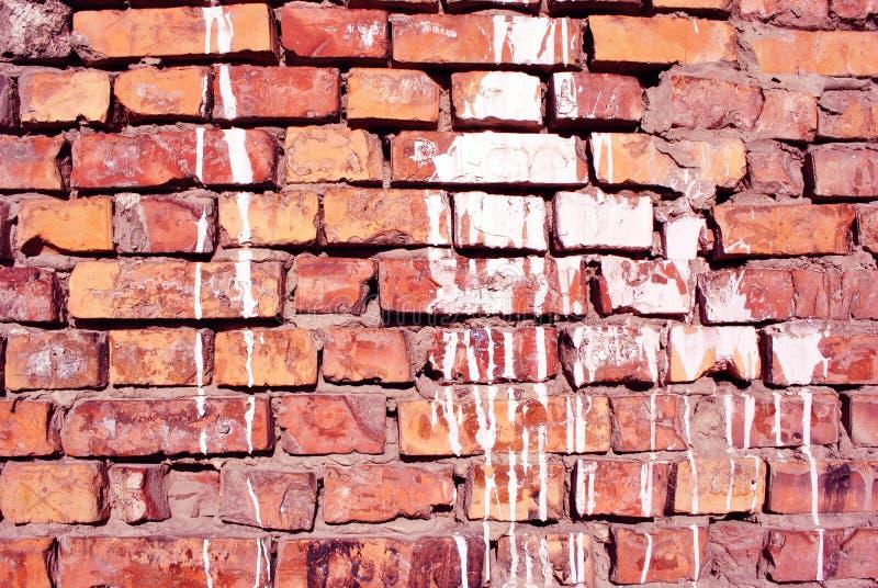 Białe farb plamy, tynk na czerwonej ściany z cegieł powierzchni zamkniętej w górę szczegółu, grunge horyzontalny tło obrazy royalty free