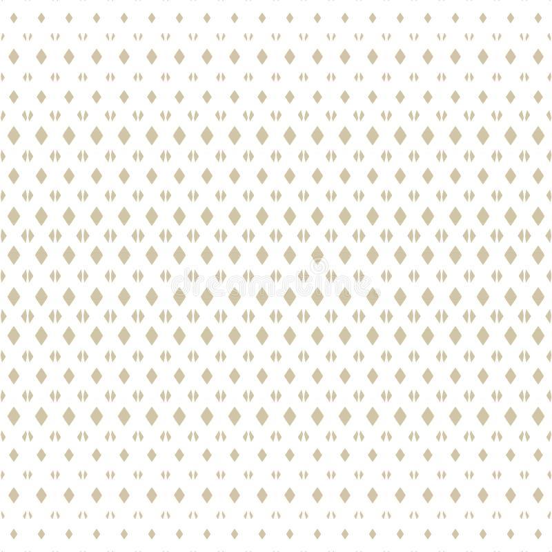 Biały i złocisty wektorowy karowy bezszwowy wzór z małymi fadingów rhombuses ilustracja wektor