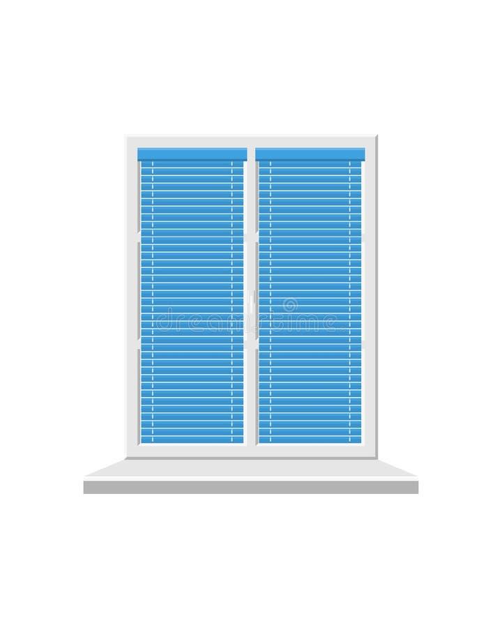 Biały okno z żaluzjami odizolowywać na białym tle ilustracji