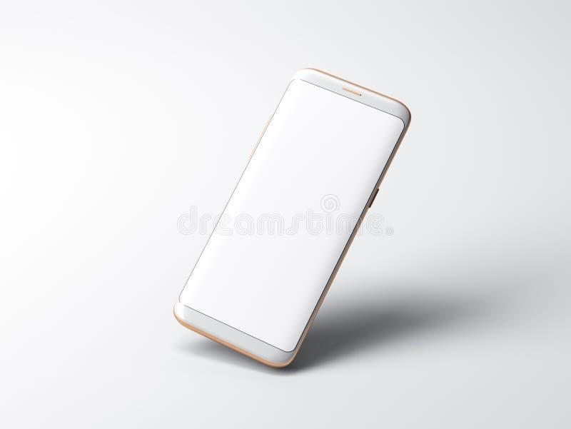 Biały Smartphone mockup na szarym tle fotografia stock