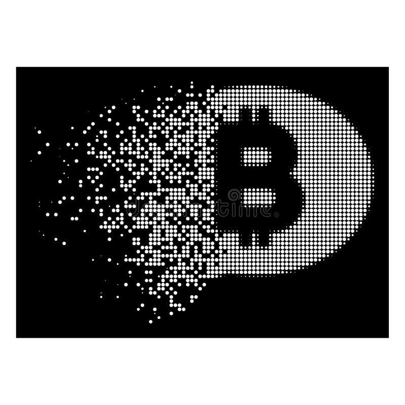 Biała Łamająca Pixelated Halftone Bitcoin wiadomości ikona ilustracji