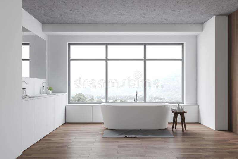 Biała łazienka z zlewem i wanną ilustracja wektor