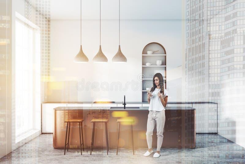 Biała łukowata kuchnia z barem, kobieta ilustracji
