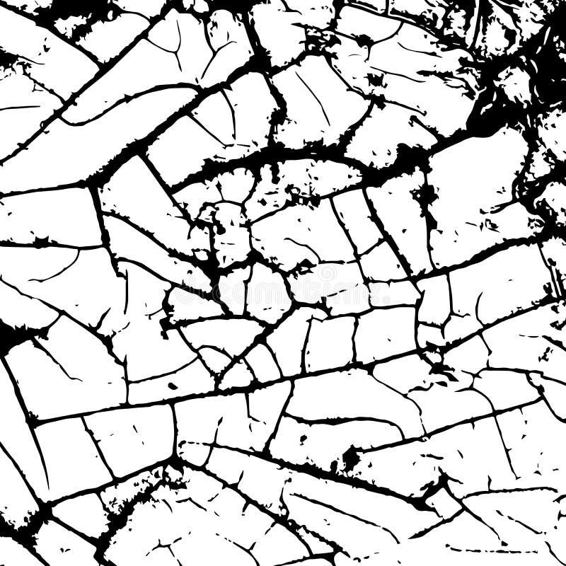 Biała łupanie tekstura Grunge tło Wzór z pęknięciami royalty ilustracja