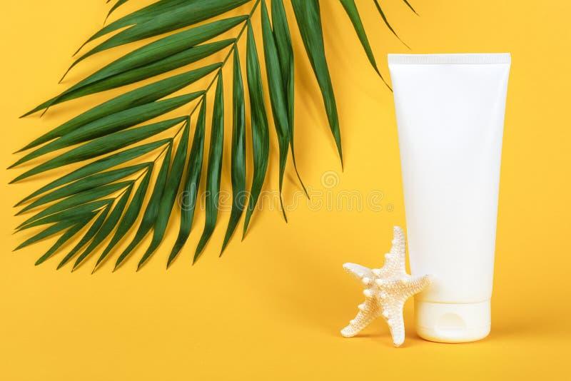 Biała, ślepa lampa kosmetyczna z filtrem przeciwsłonecznym, kremem przeciwsłonecznym do twarzy lub ciała, rozgwiazdą i zieloną dł zdjęcie royalty free