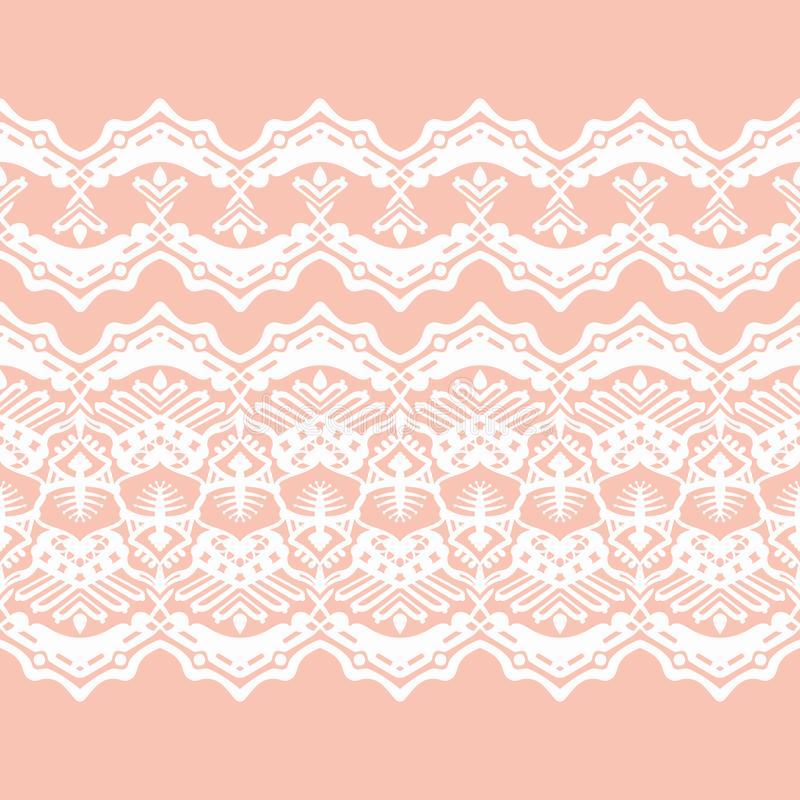 Biała ślub koronka na brzoskwini tle royalty ilustracja