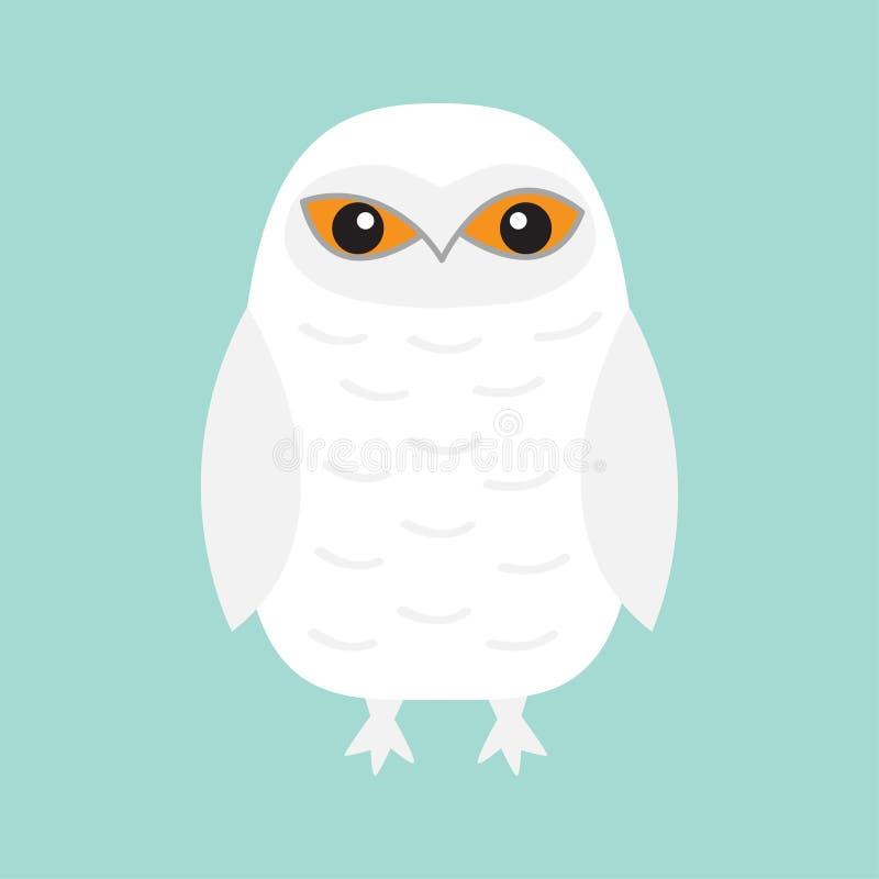 Biała Śnieżna sowa Siedzący ptak z skrzydłami Śnieżna stajnia Kolor żółty oczy Arktyczna Biegunowa zwierzęca kolekcja dziecko edu ilustracja wektor