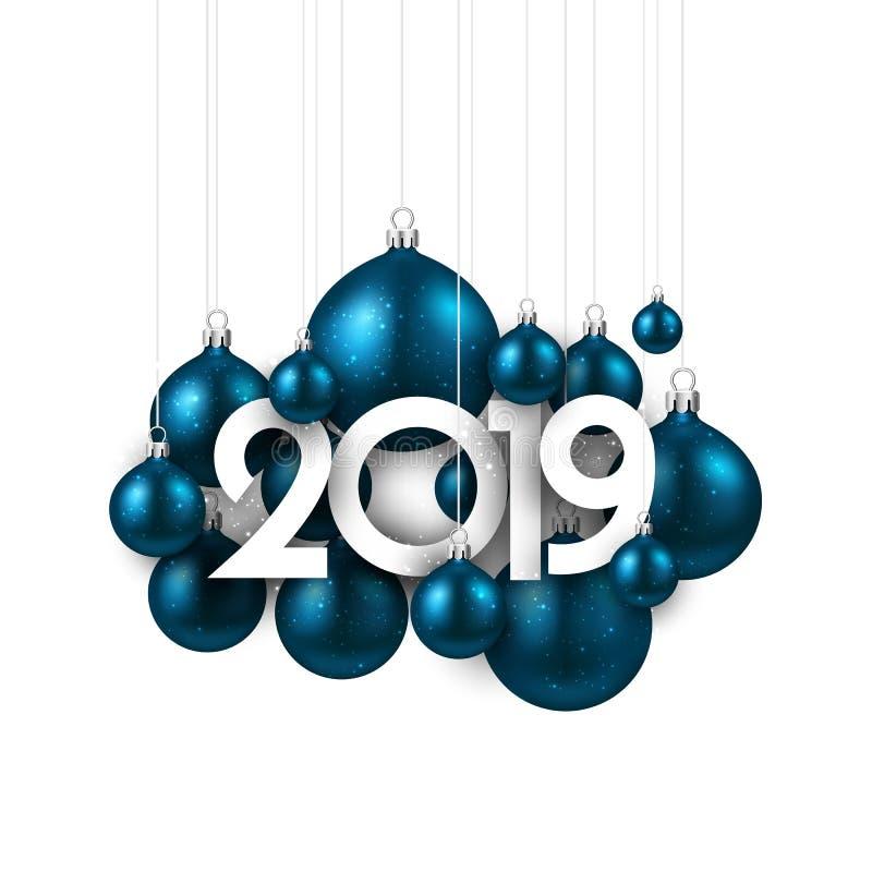Biała świąteczna 2019 nowy rok karta z błękitnymi Bożenarodzeniowymi piłkami ilustracja wektor