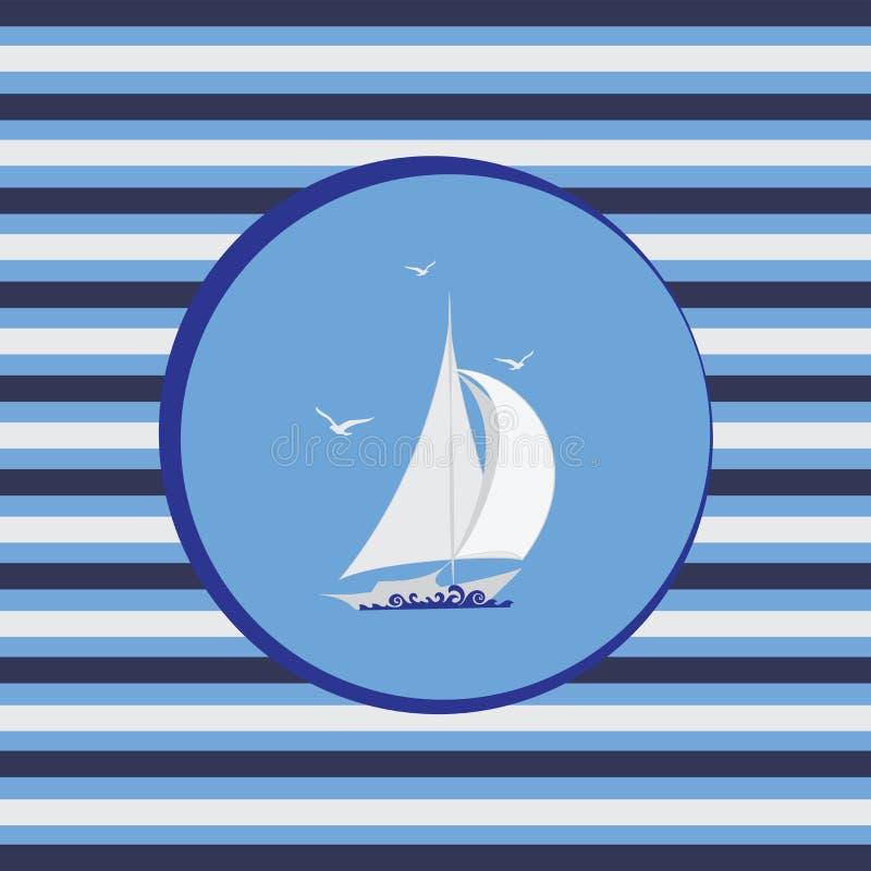 Biała żaglówka Morski emblemat ilustracji