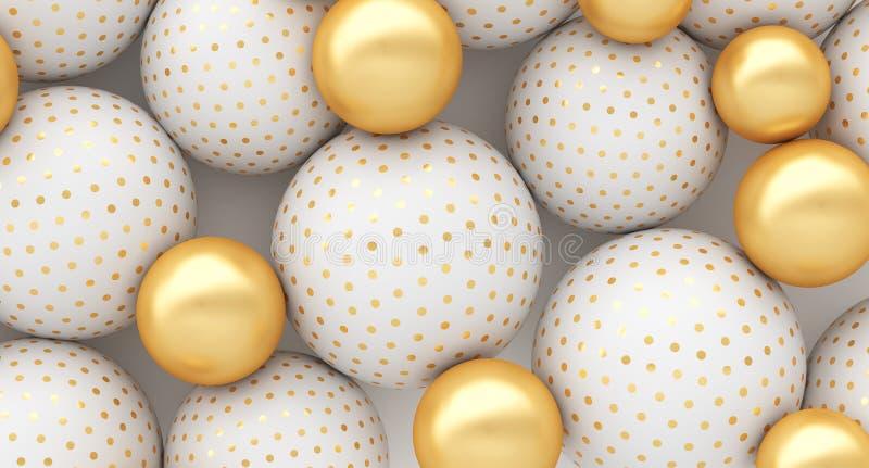 Biała ampuła i złociste małe sfery na białym tle ilustracja 3 d, reklamowa ilustracyjna sprzeda? royalty ilustracja