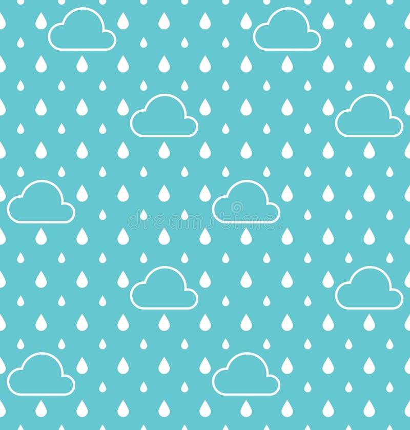 Biała biel chmura i Raindrops deseniują wektorowego tło ilustracja wektor