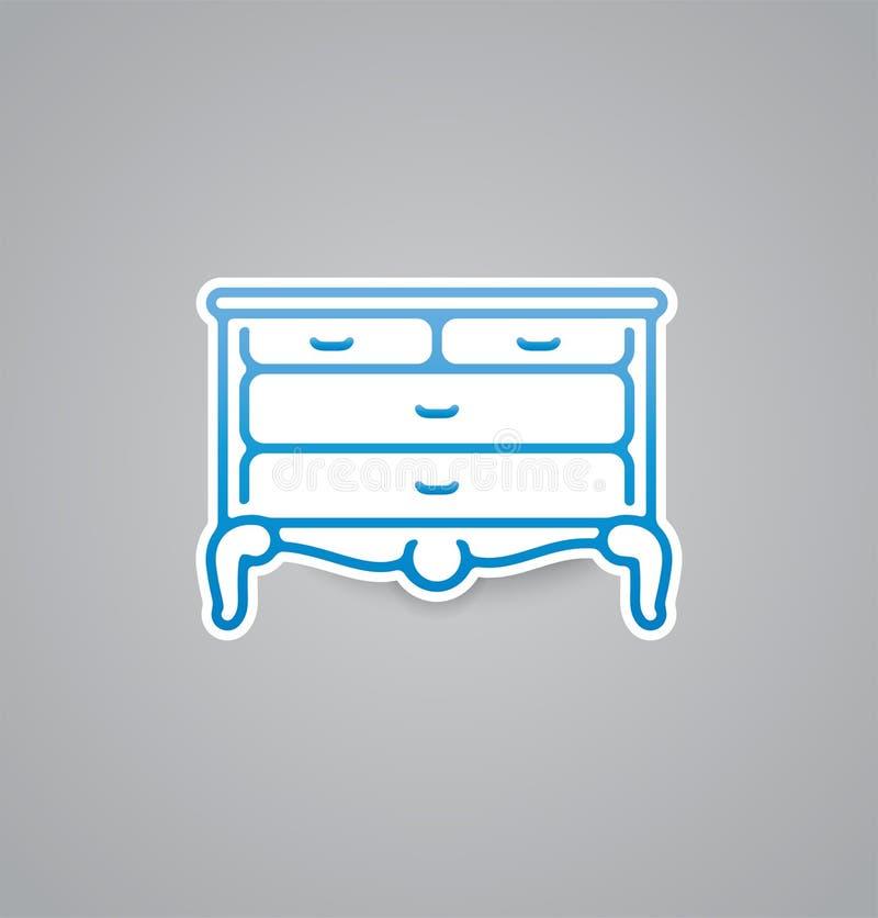 Biała biuro ikona na popielatym tle Wektorowa ilustracyjna biuro ikona EPS10 ilustracji