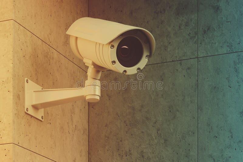 Biała CCTV kamera na szarej ścianie tonującej ilustracja wektor