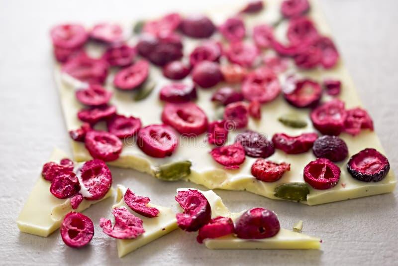 Biała czekolada z wysuszonymi cranberries zdjęcie royalty free