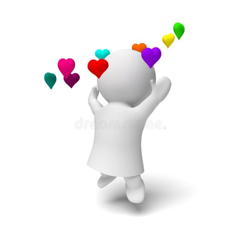 Biała 3d osoba jest ubranym togę skacze szczęśliwie w pierścionku kolorowa serc 3D ilustracja odizolowywająca na białym tle royalty ilustracja