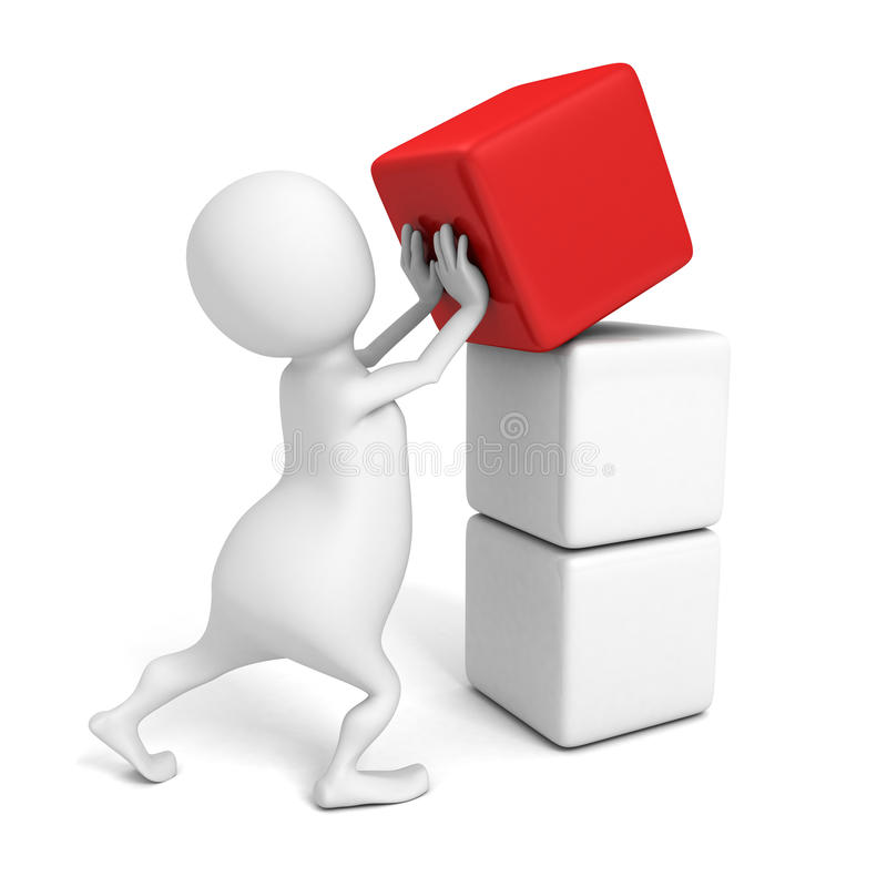 Biała 3d osoba pcha czerwonego sześcianu blok wierzchołek ilustracji