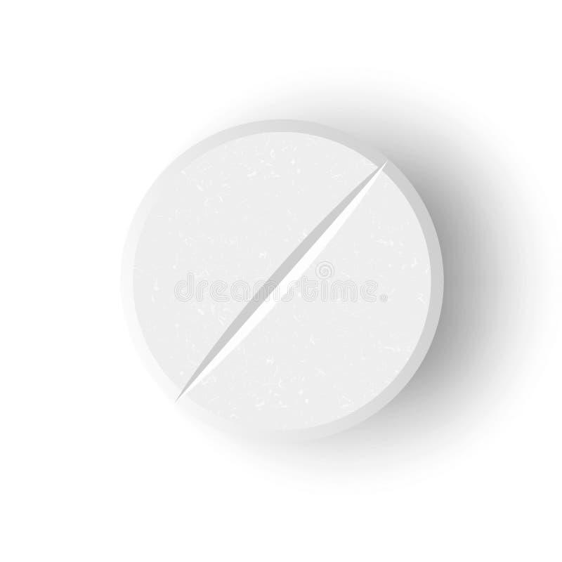 Biała 3D pigułki Lub leka wektoru Medyczna ilustracja Realistyczna pastylka Z Miękkim cieniem W przodzie Odizolowywającym Na Biał ilustracji