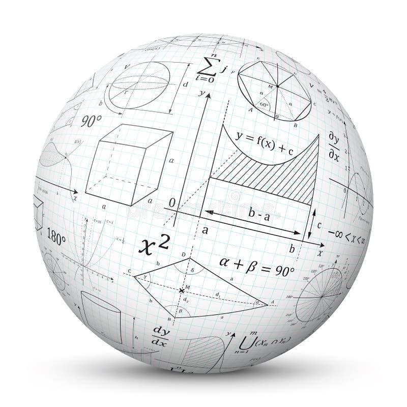 Biała 3D Wektorowa sfera z wykresu papieru teksturą i Matematycznie symbolami - matematyki nabrania ślizganie ilustracji