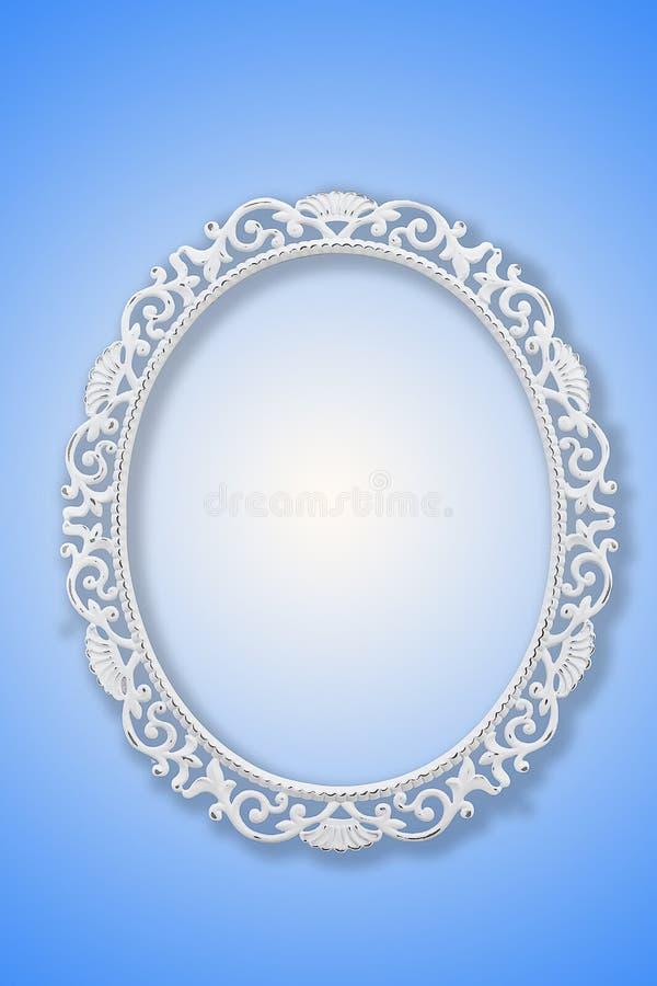 Biała delikatna rama dla fotografii na błękitnym tle royalty ilustracja