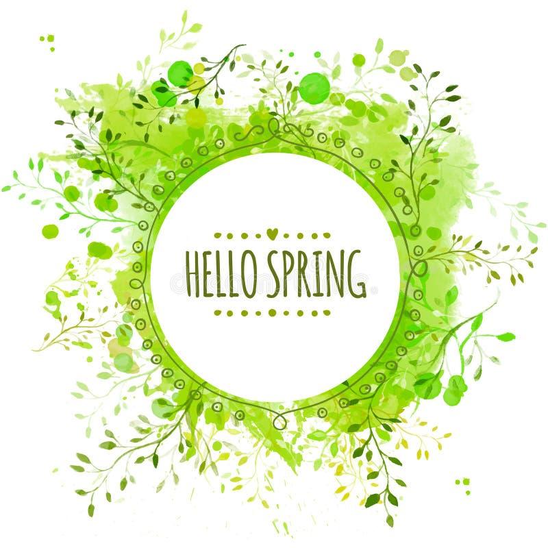 Biała doodle okręgu rama z tekst wiosną cześć Zielony farby pluśnięcia tło z liśćmi Świeży wektorowy projekt dla sztandarów, gree royalty ilustracja