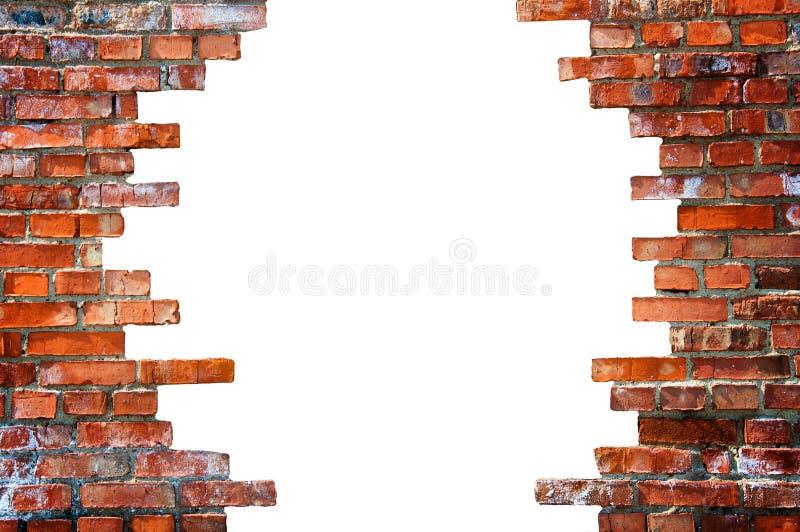 Biała dziura w ściana z cegieł zdjęcia stock