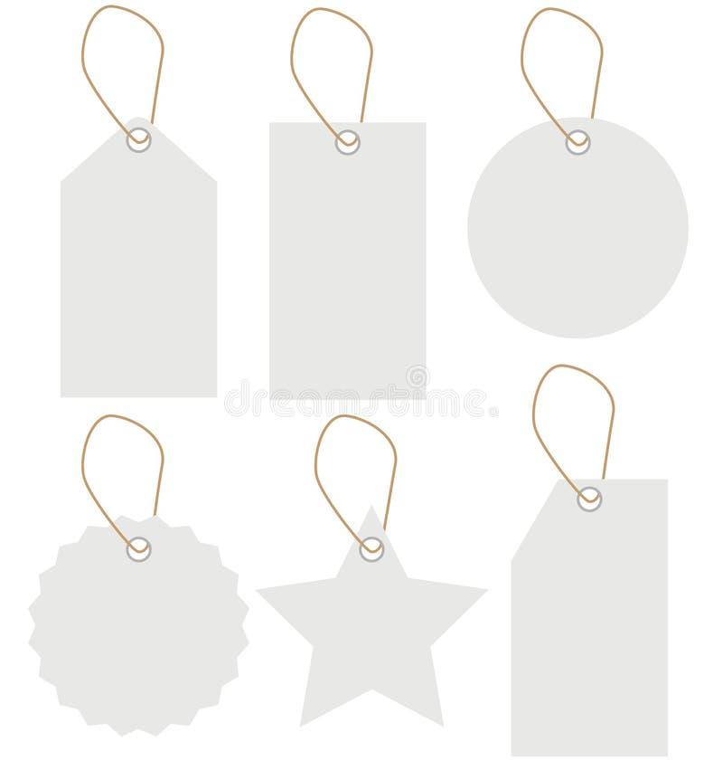 Biała etykietki etykietka ustawia odosobnionego na białym tle pusta etykiety royalty ilustracja