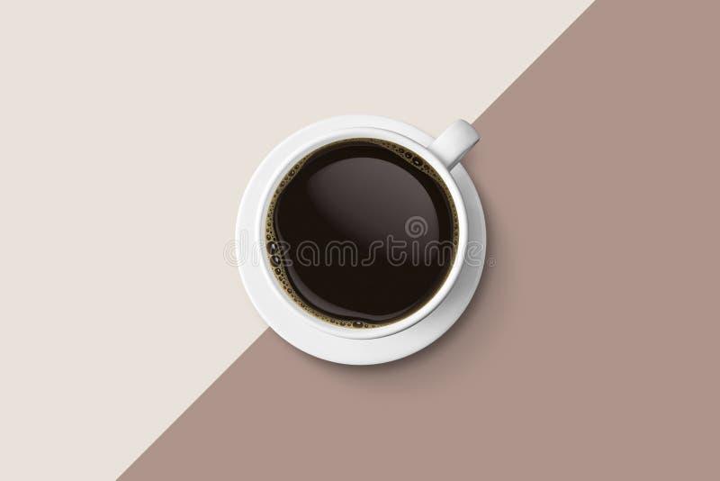 Biała filiżanka i gorąca kawy espresso kawa odizolowywamy na dwa brzmień bac royalty ilustracja