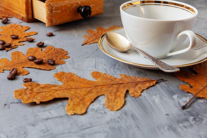 Biała filiżanka i rocznika ręczny kawowy ostrzarz zdjęcie stock