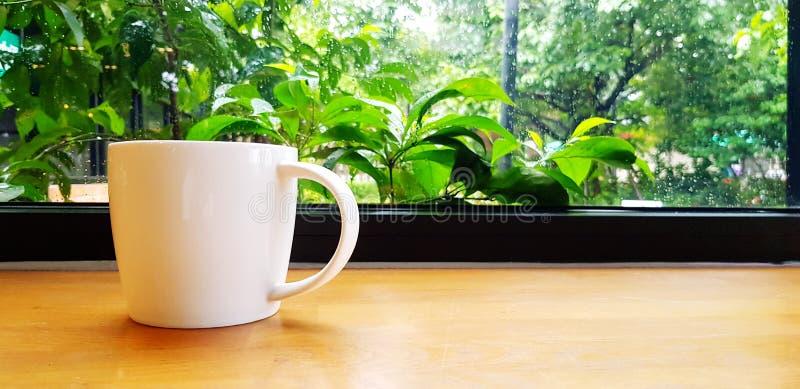BiaÅ'a filiżanka kawy na drewnianym stole z zielonym tÅ'em roÅ›linnym i z prawÄ… przestrzeniÄ… zdjęcie stock