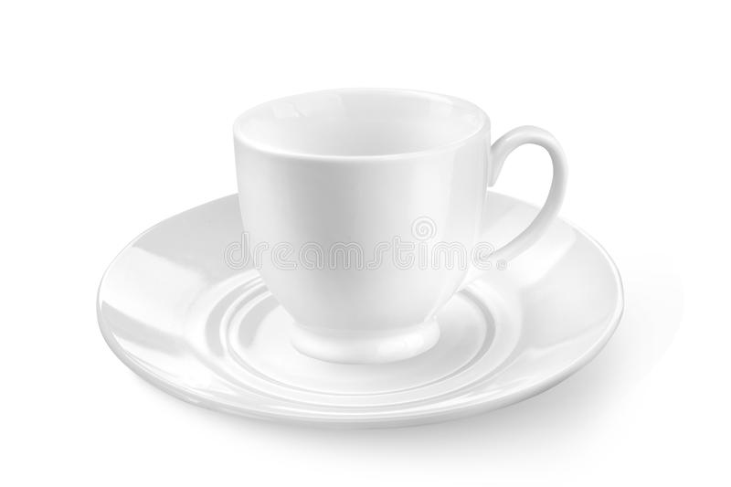 Biała filiżanka z spodeczkiem lub herbata obraz stock