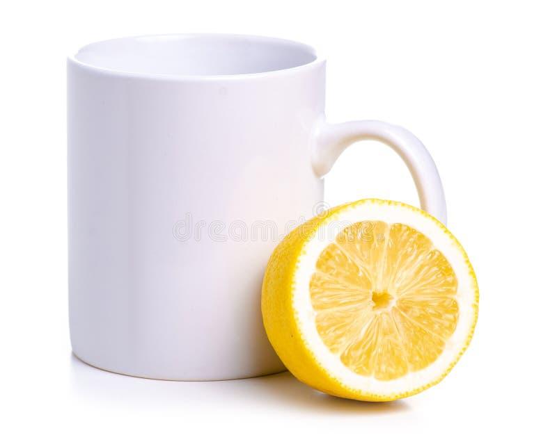 Biała filiżanki cytryna obraz stock