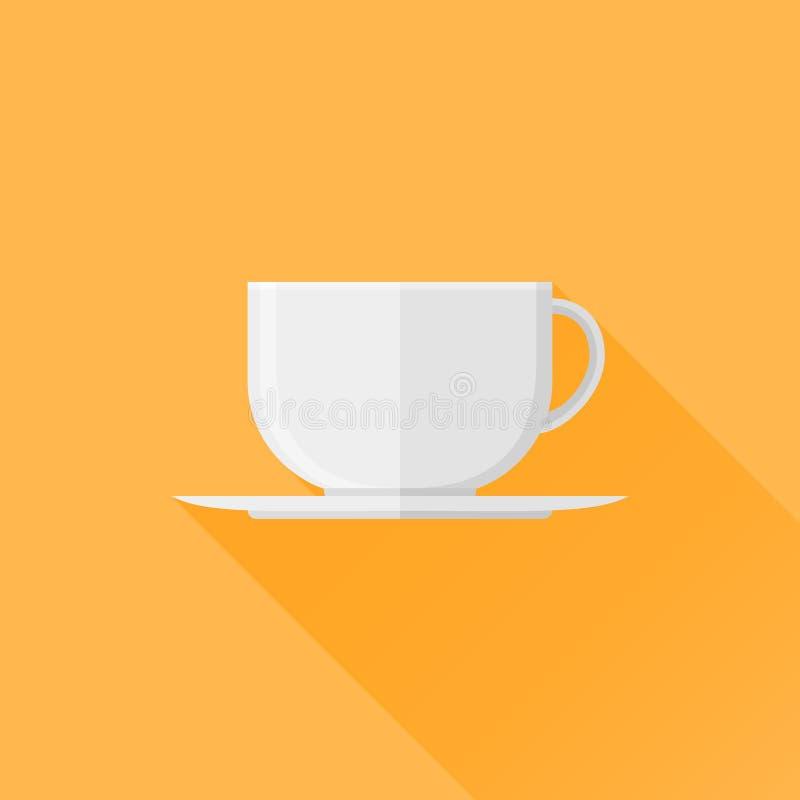 Biała filiżanki kawy lub herbaty mieszkania ikona również zwrócić corel ilustracji wektora royalty ilustracja