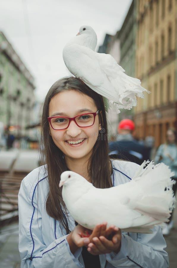 Biała gołąbka siedzi na głowie roześmiana dziewczyna zdjęcie royalty free