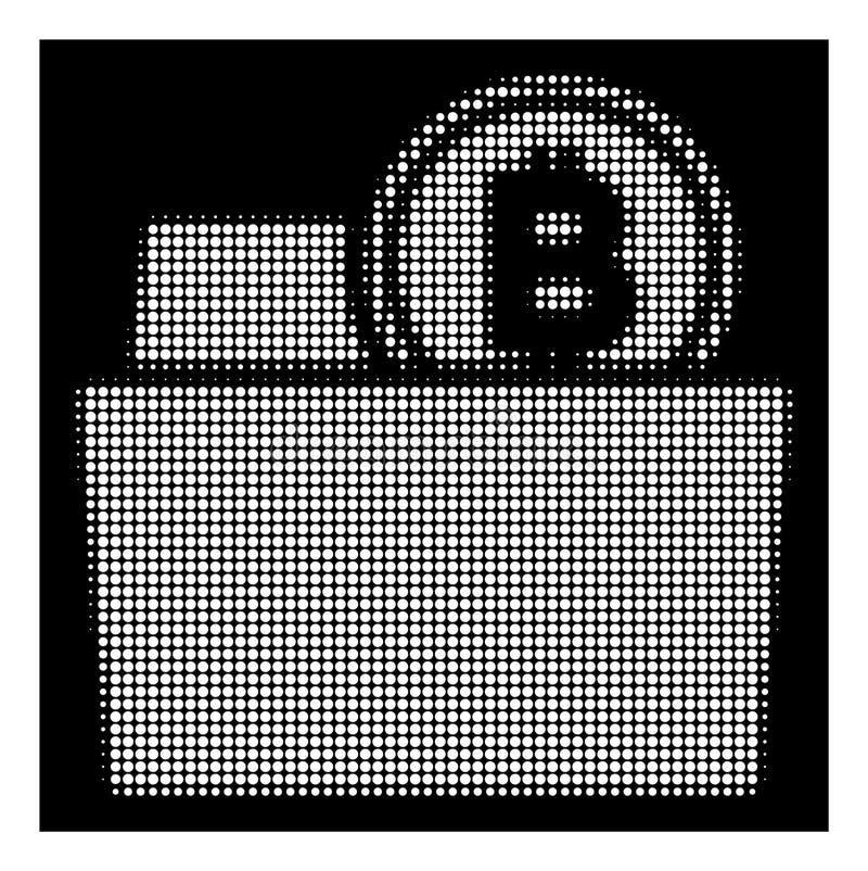 Biała Halftone Bitcoin falcówki ikona ilustracja wektor
