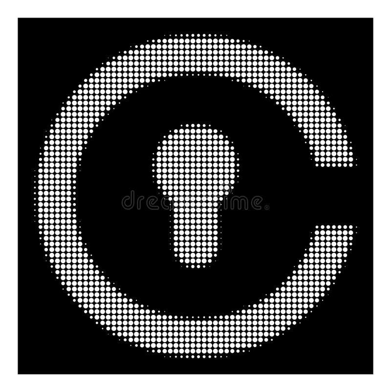 Biała Halftone Keyhole ikona ilustracja wektor