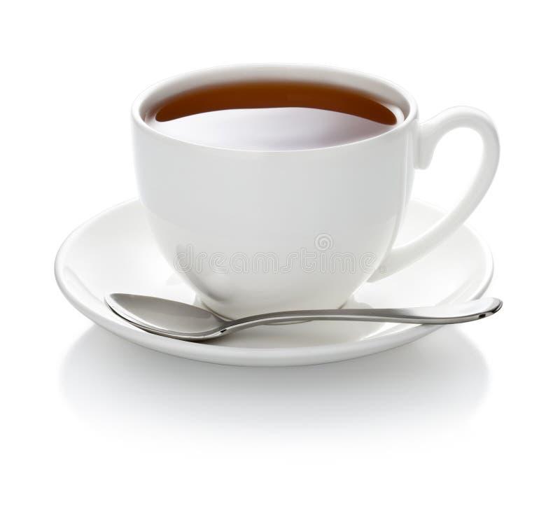 Biała herbaciana filiżanka odizolowywająca fotografia royalty free